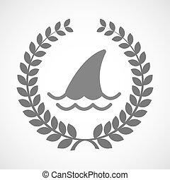tiburón, guirnalda, aislado, laurel, aleta, icono