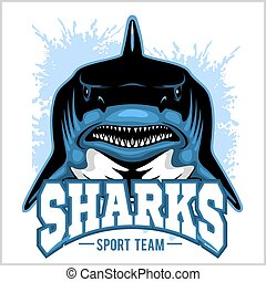 tiburón, illustration., mascot., deportes, vector, fuerte