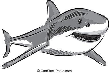 tiburón, ilustración