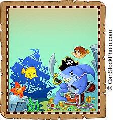 tiburón, pergamino, pirata