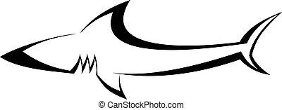tiburón, -, tatuaje