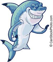 tiburón, vector, caricatura, medio
