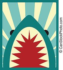 tiburón, vector, cartel, ilustración
