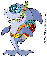 tiburón, zambullidor de la escafandra autónoma