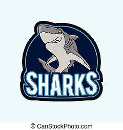 tiburones, ilustración, diseño