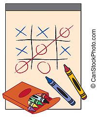 tic, jeu, crayons, tac, orteil