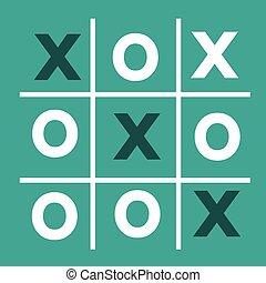 tic, juego, xo, tic, o, tac, tac, dedo del pie, juego, dedo ...