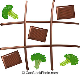 Tic Tac Toe with pieces of chocolate and broccoli. Chocolate wins. Isolated vector on white background.