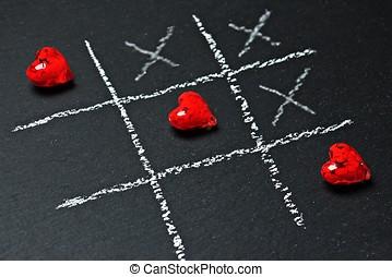 tic tac toe cross heart game chalk game kids children romantic valentines day couple love