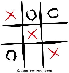 Tic tac toe game illustration on white background