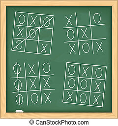 Tic tac toe game on blackboard, vector eps10 illustration