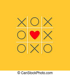 Tic tac toe game with cross and red heart sign mark in the center Love card Flat design Yellow background Vector illustration