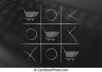tic tac toe game with line of shopping cart winning