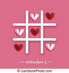 Tic Tac Toe game with Red hearts. Love Romantic holiday. Space for text. February 14. Vector