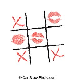 Tic Tac Toe hand drawn with lipstick and eyeliner. Vector illustration