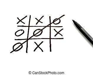 tic tac toe leisure game mental scribble - close up of tic...