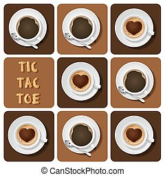 Illustration of cappuccino and espresso in tic-tac-toe game