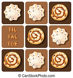 Illustration of of cinnamon roll and meringue in tic-tac-toe game