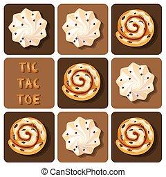 Tic-Tac-Toe of cinnamon roll and meringue - Illustration of ...