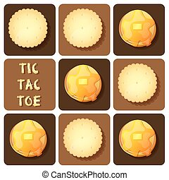 Tic-Tac-Toe of cracker and pancake