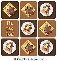 Illustration of crepe and waffle in tic-tac-toe game