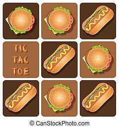 Illustration of Hot Dog and Hamburger in tic-tac-toe game