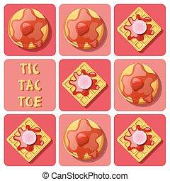Tic-Tac-Toe of waffle and pancake