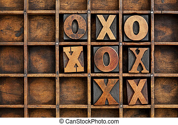 tic-tac-toe or noughts and crosses game - vintage ...