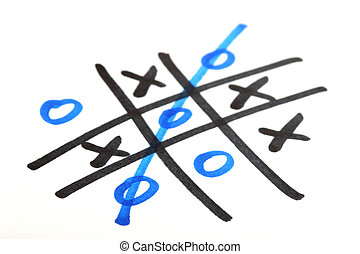 tic tac toe game on paper - limited depth of field with...