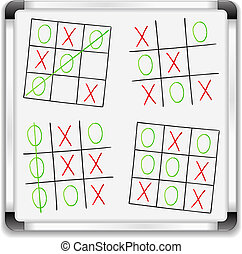Tic tac toe game on a whiteboard, vector eps10 illustration