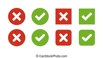 Tick and cross buttons - A set of four simple web buttons:...