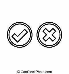 Tick and cross circle shape icon, outline style