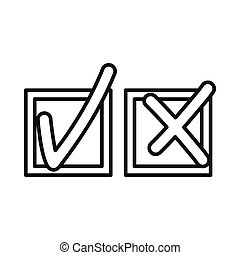 Tick and cross icon, outline style