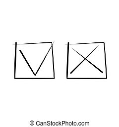 Tick and cross icon, simple style