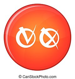 Tick and cross in circles icon, flat style