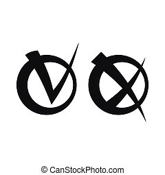 Tick and cross in circles icon, simple style