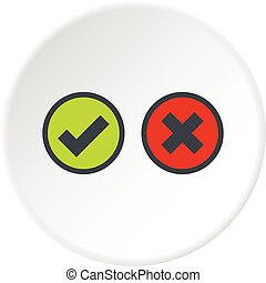 Tick and cross selection icon circle