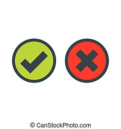 Tick and cross selection icon, flat style