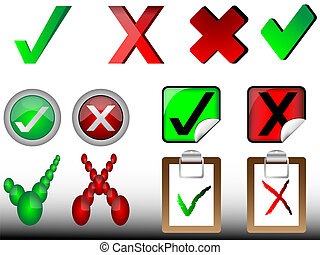 tick and cross signs