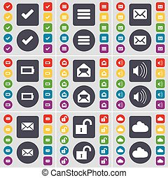 Tick, Apps, Message, Battery, Sound, Lock, Cloud icon symbol. A large set of flat, colored buttons for your design. Vector