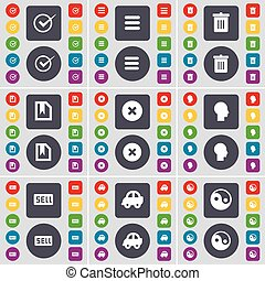 Tick, Apps, Trash can, File, Stop, Silhouette, Sell, Car, Yin-Yang icon symbol. A large set of flat, colored buttons for your design. Vector