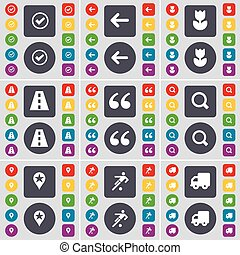 Tick, Arrow left, Flower, Road, Quotation mark, Magnifying glass, Checkpoint, Football, Truck icon symbol. A large set of flat, colored buttons for your design. Vector