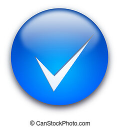 Tick button - Blue glossy button with a tick isolated over...
