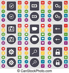 Tick, Charging, Gear, Contact, Chat cloud, Arrow left, Gear, Magnifying glass, Lock icon symbol. A large set of flat, colored buttons for your design. Vector