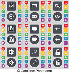 Tick, Charging, Gear, Contact, Chat cloud, Arrow left, Gear, Magnifying glass, Lock icon symbol. A large set of flat, colored buttons for your design.