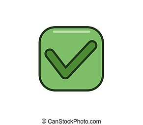 Tick, checkbox icon. Line colored vector illustration. Isolated on white background