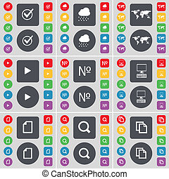 Tick, Cloud, Globe, Media play, Number, PC, File, Magnifying glass, Copy icon symbol. A large set of flat, colored buttons for your design.