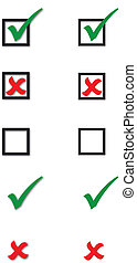 Ticks, Crosses and Checkboxes with and without drop shadows.