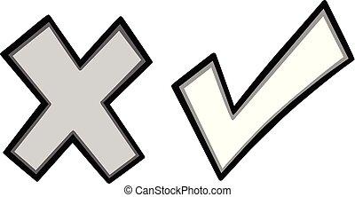 Tick Cross Icons Illustration