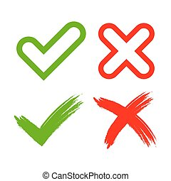 Tick cross mark signs